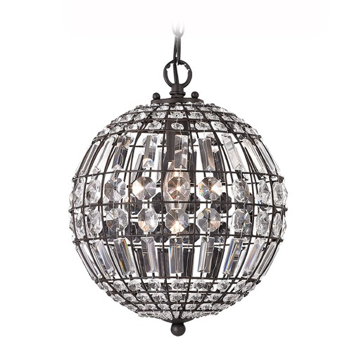 Sterling Lighting Round Crystal Mini Pendant 122-015
