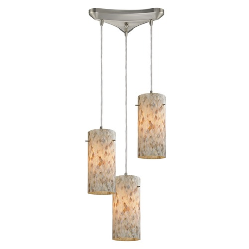 Elk Lighting Elk Lighting Capri Satin Nickel Multi-Light Pendant with Cylindrical Shade 10442/3
