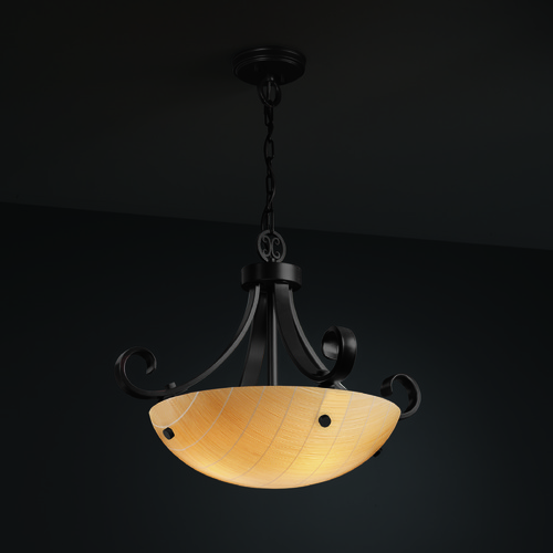 Justice Design Group Justice Design Group Scrolls W/ Finials Family Matte Black Pendant Light 3FRM-9741-35-TAKE-MBLK-F1