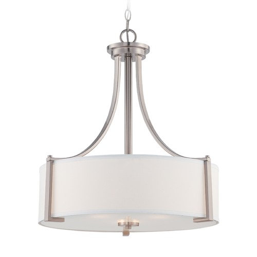 Designers Fountain Lighting Designers Fountain Axel Satin Platinum Pendant Light with Drum Shade 86231-SP