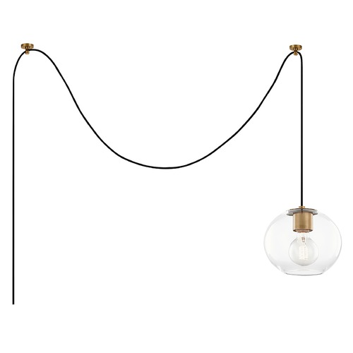 Mitzi by Hudson Valley Mitzi By Hudson Valley Margot Aged Brass Swag Light with Globe Shade HL270701S-AGB