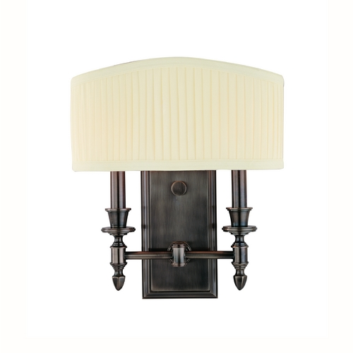 Hudson Valley Lighting Sconce Wall Light with White Shade in Historic Nickel Finish 882-HN