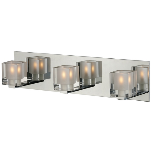 ET2 Lighting Modern Bathroom Light with Clear Glass in Polished Chrome Finish E22033-18