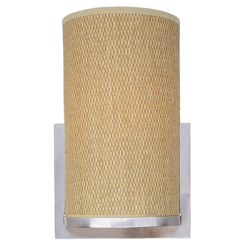 ET2 Lighting Modern Sconce Wall Light with Brown Shade in Satin Nickel Finish E95184-101SN