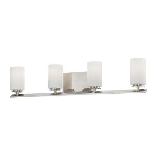 Minka Lavery Modern Bathroom Light with White Glass in Brushed Nickel Finish 6554-84