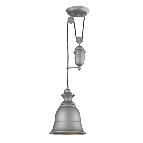 Elk Lighting Farmhouse Pulley Mini-Pendant Light with Bell Shade - Grey Finish 65080-1