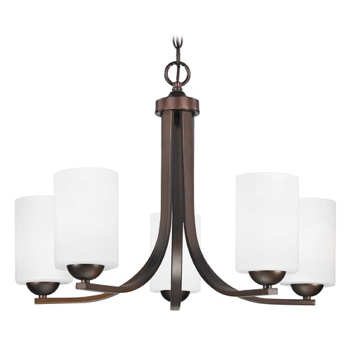 Design Classics Lighting Contemporary Bronze Chandelier with White Cylinder Glass Shades 584-220 GL1028C