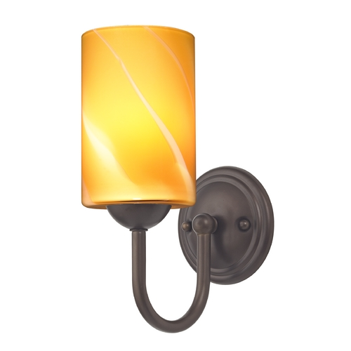 Design Classics Lighting Sconce with Butterscotch Art Glass in Bronze Finish 593-220 GL1022C