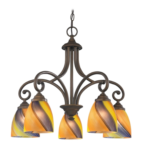 Design Classics Lighting Chandelier with Multi-Color Glass in Neuvelle Bronze Finish 717-220 GL1015MB