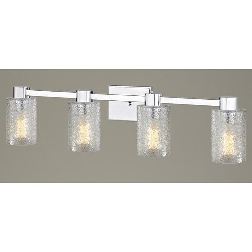 4 Light Ice Glass Bathroom Vanity Light Chrome 2104 26 Gl1060c Destination Lighting