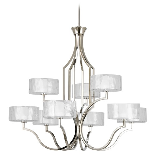Progress Lighting Progress Chandelier with White Glass in Polished Nickel Finish P4646-104WB