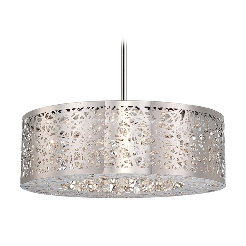 George Kovacs Lighting Modern LED Drum Pendant Light in Chrome Finish P982-077-L