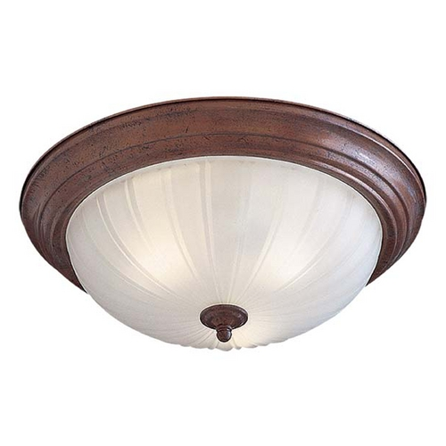 Minka Lavery Flushmount Light with White Glass in Antique Bronze Finish 830-91-PL