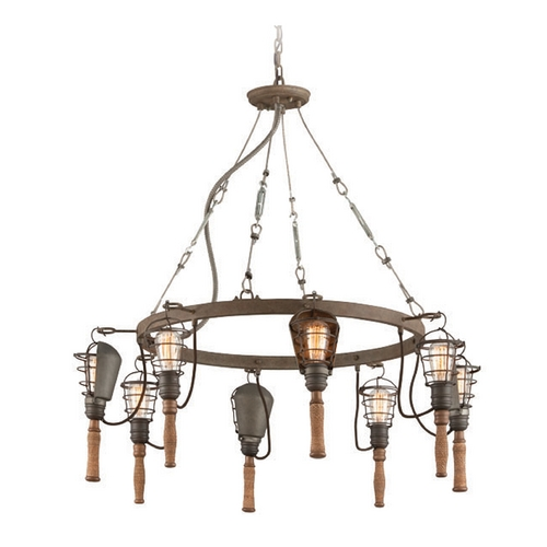 Troy Lighting Troy Lighting Yardhouse Rusty Galvanized Chandelier F4176
