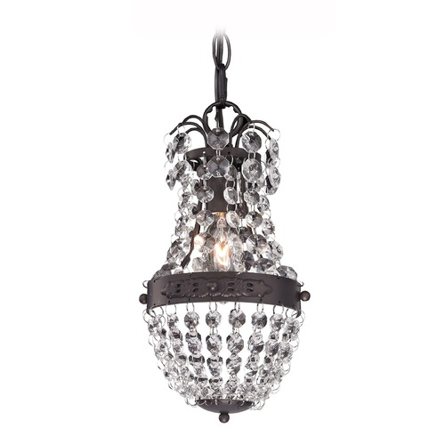 Sterling Lighting Clear Crystal Mini Pendant With Bronze Banding 122-016