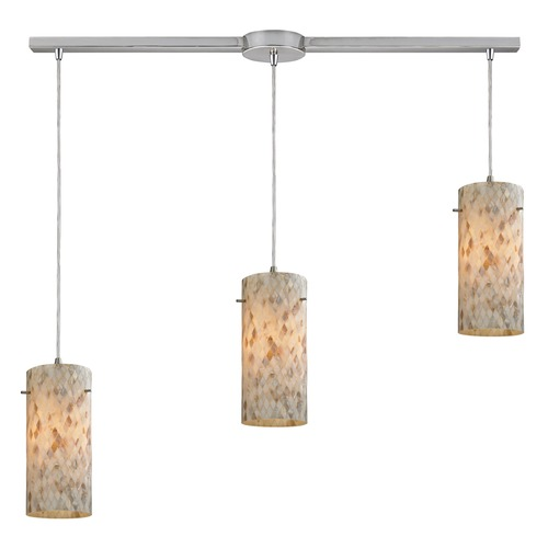 Elk Lighting Elk Lighting Capri Satin Nickel Multi-Light Pendant with Cylindrical Shade 10442/3L