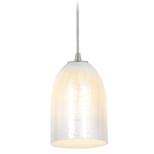 Access Lighting Access Lighting Bordeaux Brushed Steel LED Mini-Pendant Light with Bowl / Dome Shade 28018-3C-BS/WWHT