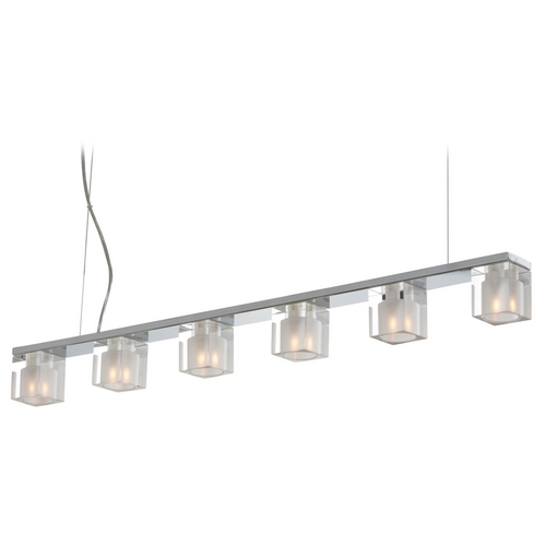 ET2 Lighting Modern Island Light with Clear Glass in Polished Chrome Finish E22034-18