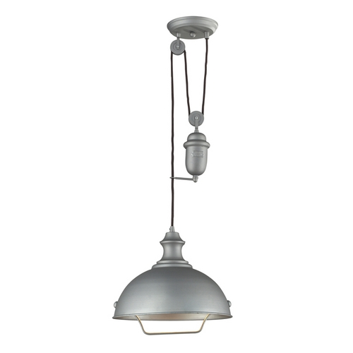 Elk Lighting Farmhouse Pulley Pendant Light - Grey Finish 65081-1