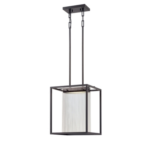 Nuvo Lighting Modern LED Square Pendant Light in Black Finish with Ribbed Glass  62/108