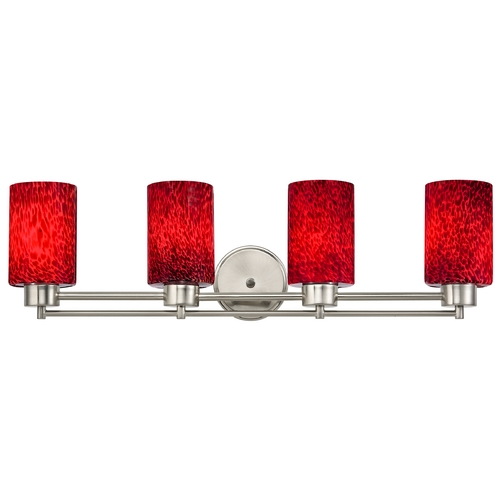 Design Classics Lighting Modern Bathroom Light with Red Glass in Satin Nickel Finish 704-09 GL1018C