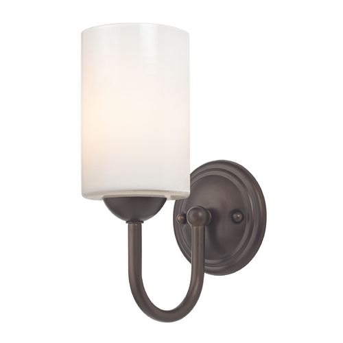Design Classics Lighting Sconce with White Glass in Bronze Finish 593-220 GL1024C