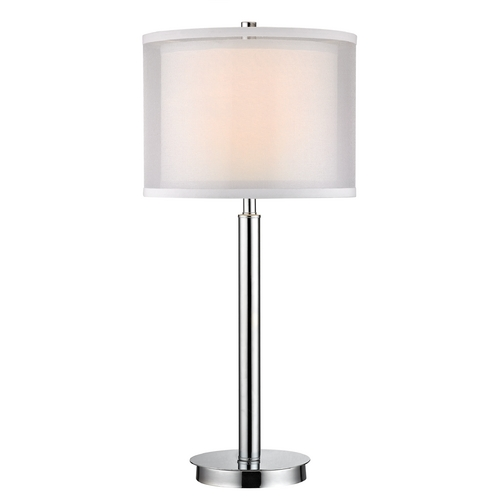 Dolan Designs Lighting Modern Table Lamp with White Shade in Chrome Finish 15061-26