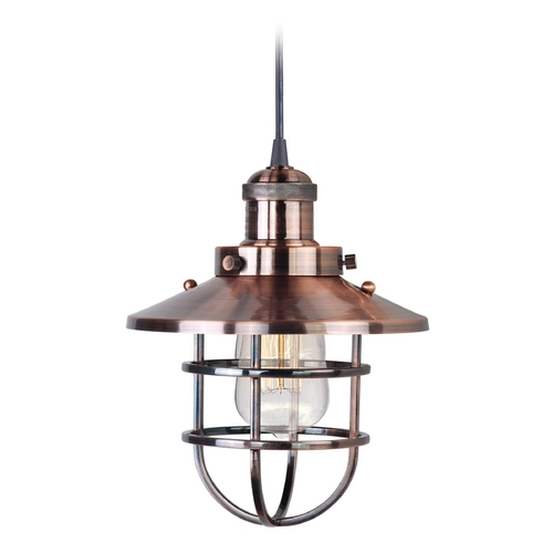 Maxim Lighting Maxim Lighting Mini Hi-Bay Antique Copper Mini-Pendant Light with Coolie Shade 25030ACP/BUI