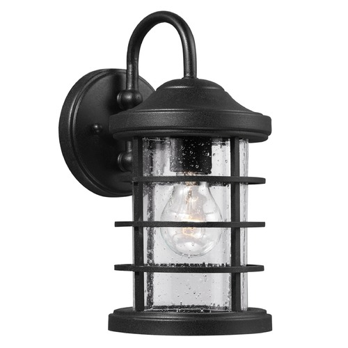 Sea Gull Lighting Seeded Glass Outdoor Wall Light Black Sea Gull Lighting 8524401-12