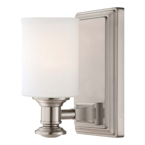 Minka Lavery Sconce Wall Light with White Glass in Brushed Nickel Finish 5171-84