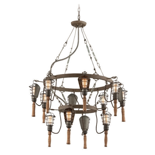 Troy Lighting Troy Lighting Yardhouse Rusty Galvanized Chandelier F4177
