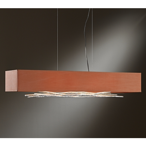 Hubbardton Forge Lighting Hubbardton Forge Lighting Brindille Vintage Platinum Island Light with Rectangle Shade 137663-82-590