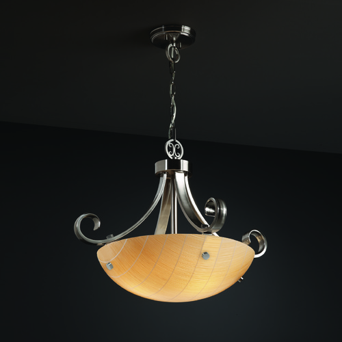 Justice Design Group Justice Design Group Scrolls W/ Finials Family Brushed Nickel Pendant Light 3FRM-9741-35-TAKE-NCKL-F1