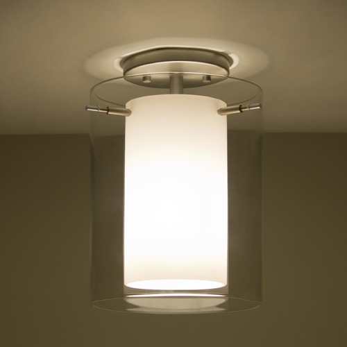 Besa Lighting Besa Lighting Pahu Satin Nickel LED Semi-Flushmount Light 1KM-C00607-LED-SN