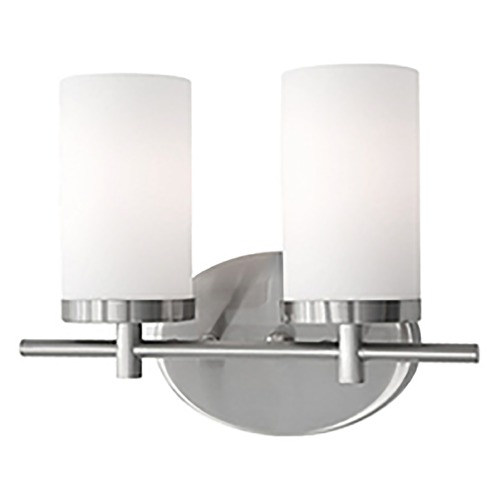 Kuzco Lighting Kuzco Lighting Modern Brushed Nickel Bathroom Light with White Opal Shade 70272BN