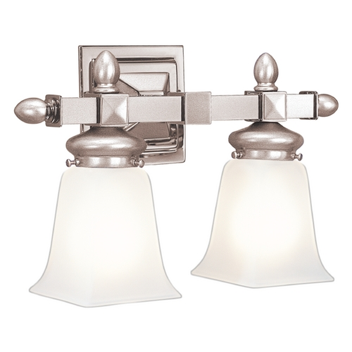 Hudson Valley Lighting Bathroom Light with White Glass in Satin Nickel Finish 2822-SN