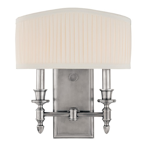 Hudson Valley Lighting Sconce Wall Light with White Shade in Polished Nickel Finish 882-PN