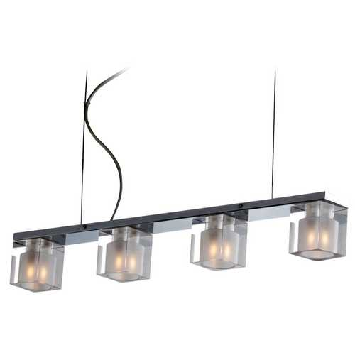 ET2 Lighting Modern Island Light with Clear Glass in Polished Chrome Finish E22035-18