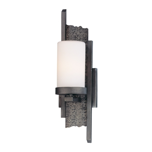Troy Lighting Outdoor Wall Light with White Glass in Sapporo Silver Finish BF2601