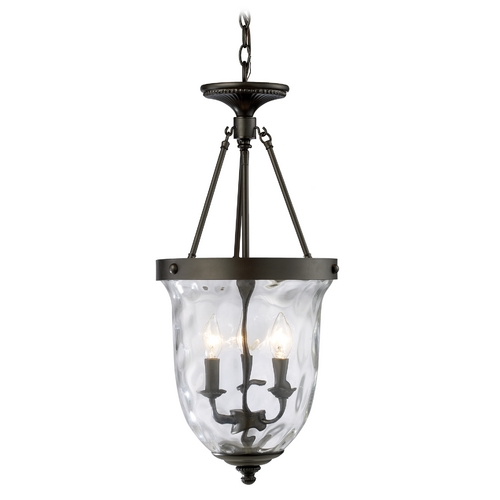 Elk Lighting Pendant Light with Clear Glass in Oiled Bronze Finish 66311-3