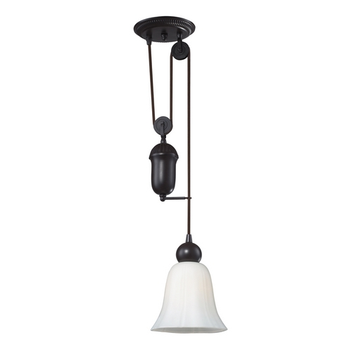 Elk Lighting Pulley Mini-Pendant Light with White Glass - Bronze Finish 65090-1