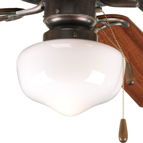 Progress Lighting Progress Light Kit with White Glass in Antique Bronze Finish P2601-20