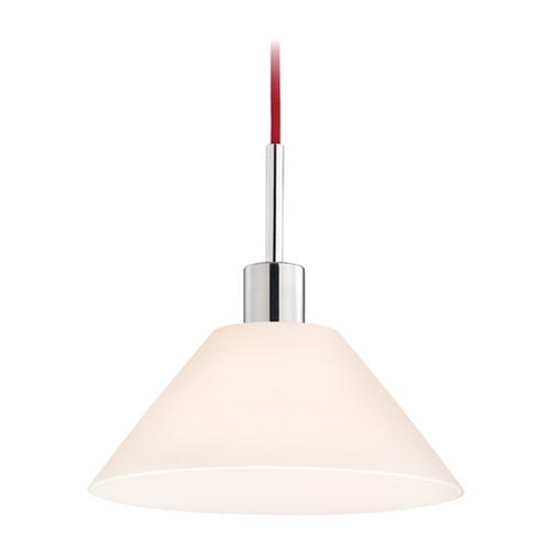 Sonneman Lighting Modern Pendant Light with White Glass in Polished Chrome Finish 3563.01R