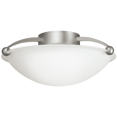 Kichler Lighting Kichler Brushed Nickel Semi-Flushmount Ceiling Light with White Glass 8405NI
