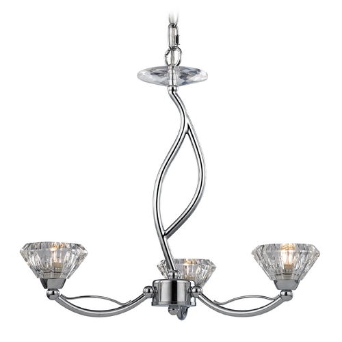 Elk Lighting Modern Mini-Chandelier with Clear Glass in Polished Chrome Finish 46148/3