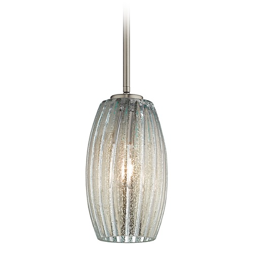 Kichler Lighting Kichler Aquilino Brushed Nickel Mini-Pendant Light with Oblong Shade 43486NIBL
