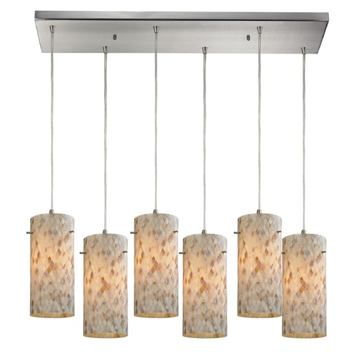 Elk Lighting Elk Lighting Capri Satin Nickel Multi-Light Pendant with Cylindrical Shade 10442/6RC