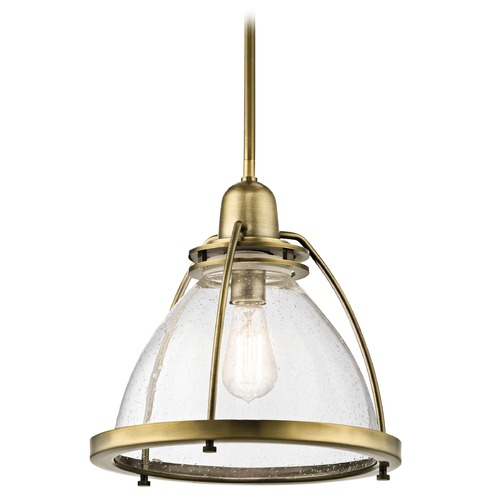 Kichler Lighting Kichler Lighting Silberne Natural Brass Pendant Light with Bowl / Dome Shade 43737NBR