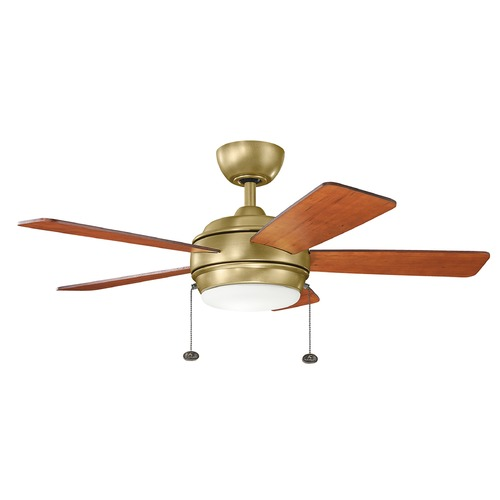 Kichler Lighting Kichler Lighting Starkk Natural Brass LED Ceiling Fan with Light 330171NBR