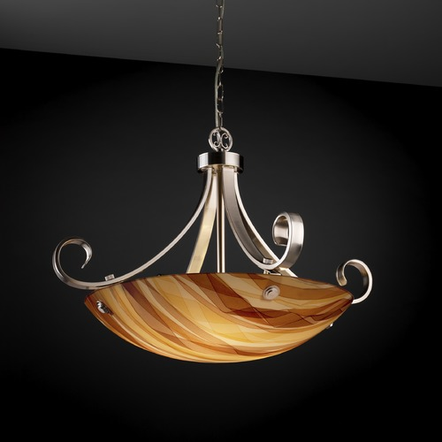 Justice Design Group Justice Design Group Scrolls W/ Finials Family Brushed Nickel Pendant Light 3FRM-9742-35-TWRL-NCKL-F6
